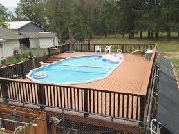 Wood Pool Deck Pool Impressive Backyard Design And Decoration With Various Above