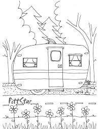 Instant Download Vintage Travel Trailer Printable Coloring Page