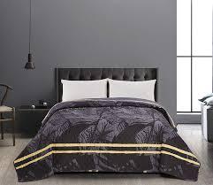 luxury yellow grey leaf super king size bedspread reversible comforter 260x280cm