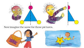 child looking in mirror clipart. on the next page, children need to understand that even though shape is symmetric, colour scheme of figure can make it asymmetric (e.g. in child looking mirror clipart