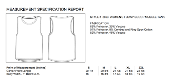 Womens Muscle Tank Size Chart The Shop Forward