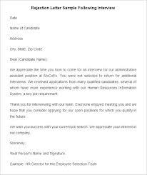 Interview Rejection Email Letter Sample New Company Driver