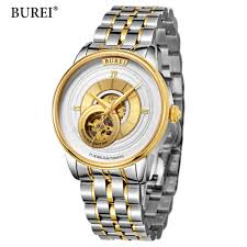 popular skeleton case watch buy cheap skeleton case watch lots burei automatic mechanical watches men brand luxury rose gold case stainless steel skeleton transparent watch relogios