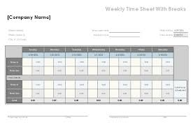 Excel Timesheet Download Download Weekly Time Sheet With Breaks