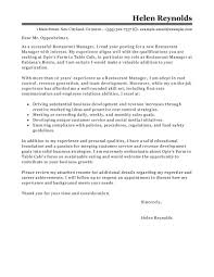 Best Restaurant Manager Cover Letter Examples Livecareer