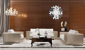 contemporary furniture placement long narrow living room white metal chrome simple chandelier lighting brown wooden wall