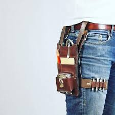 close up of the custom tool belt that makesmith made for me traditional tool