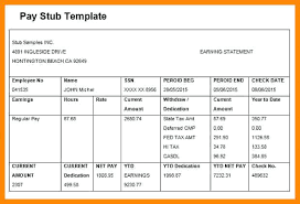 Check Stub Template Free Download Sample Of Pay Stub Template Free Beadesigner Co