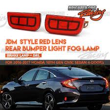 Civic Rear Bumper Light Details About Fit 16 17 Honda Civic Sedan Rear Bumper Reflector Red Led Brake Running Lights