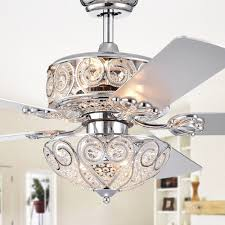 Warehouse Of Tiffany 52 Laure Crystal 6 Light Ceiling Fan Crystal Ceiling Fan Residence River Of Goods 52 In Clear