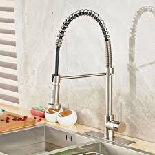 brushed nickel kitchen sprayer faucet pull down arch swivel mix tap easy install