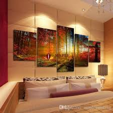 >2018 5 panel forest painting canvas wall art picture home decoration  abstract art for sale large canvas prints living room secret garden for living room canvas wall art ideas