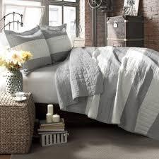 lush decor berlin stripe 3 piece quilt set full queen gray