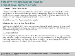 3 tips to write application letter for project development officer account development manager cover letter