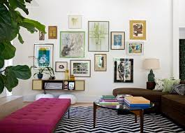 mid century modern eclectic living room. Pink Tufted Bench Mid Century Modern Eclectic Living Room E