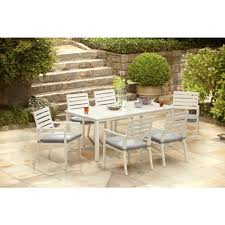 hampton bay patio dining set. hampton bay blue springs 7-piece patio dining set with dot cushions