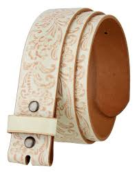 bs036 western fl engraved tooling full grain leather belt strap 1 1 2 white