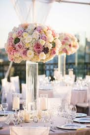 Reception D Cor Photos Clear Glass Vase With Pink Ivory