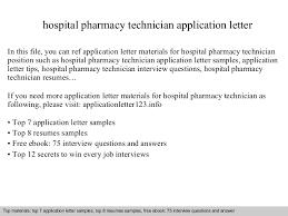 Pharmacy Cover Letter Examples Hospital Pharmacy Technician Application Letter