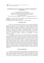 methods in mathematica for solving ordinary diffeial equations pdf available