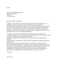 Beautiful Nursery Teacher Sample Cover Letter Pictures Inspiration