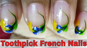 French Nails Art Designs Tutorial At Home || Toothpick French Nail ...