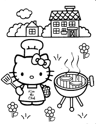 Hello kitty with balloons to color. Free Printable Hello Kitty Coloring Pages For Kids