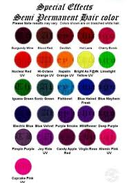 Special Effects Hair Dye Color Chart Hair Dye Color Chart