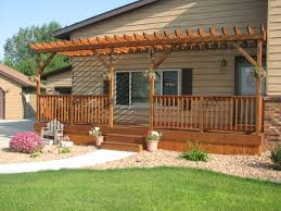 Pergola Front Porch Stunning Construction Design Brown Stained Finish  Wooden Posts Support Gussets Crossbeams Rafters Ledger Fence Verandah  Decoration