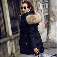 free new 2016 winter jacket women rac real fur collar coats female women s down jackets long black chaquetas a009