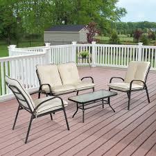 61 ikayaa fashion 4 pieces cushioned patio garden furniture sofa set
