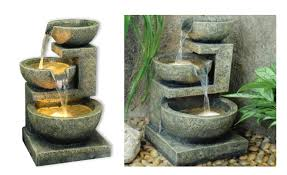 Aqua Yin Yang By AquaModa Granite Water Feature With LED Lights Solar Water Features With Lights