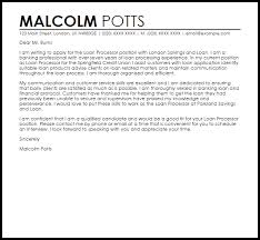 Loan Processor Cover Letter Sample Cover Letter Templates Examples