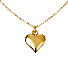 details about 14k real yellow gold puffed love heart charm pendant necklace 18 mini