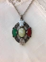 irish cross necklace photo of vintage jacobite pendant celtic cross vintage multi colored glass
