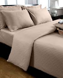 taupe beige egyptian cotton stripe duvet cover and pillowcases