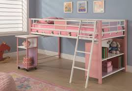bedroom pink wooden loft bed with white iron side rail built in sliding rack and bookcase as well as ikea loft bed ideas plus bunk beds loft beds wooden