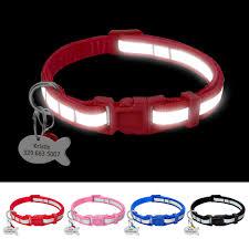 Reflective Cat <b>Dog Collar Personalized Nylon</b> Cat Dog Collars ...