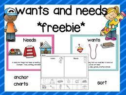 Needs And Wants Chart Wants And Needs Freebie