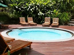 above ground round pool with deck. Above Ground Pools With Decks Round Pool Wooden Deck Sunbeds Above Ground Round Pool With Deck
