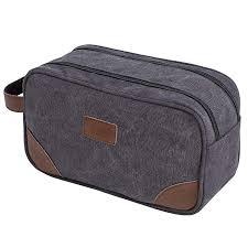 samshows travel canvas pu leather toiletry bag portable cosmetic organizer storage bag bathroom shaving dopp kit