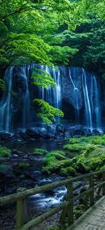 Waterfall, stream, trees, green, park ...