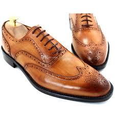 men dress shoes oxfords shoes custom handmade shoes men s shoes genuine leather wingtip brogue design color brown hd 054