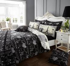 vintage black white paris eiffel tower bedding full queen duvet cover set