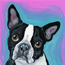 boston terrier original dog art painting 6 x 6 carla smale