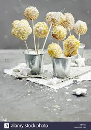 Orange Coconut Cake Pops Stock Photo 143087531 Alamy
