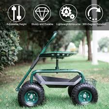 blue kinbor garden cart rolling work