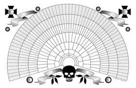 Genealogy Fan Chart 11x17 Printable Genealogy Fan Chart Decorative Skull Design