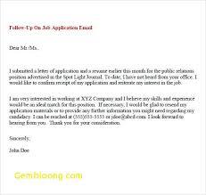 Job Application Follow Up Email Sample Fresh Application Follow Up