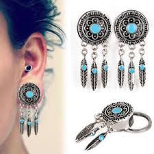 Dream Catcher Tunnels Pair Surgical Steel Dream Catcher Feather Dangle Tunnels Ear Plug 44